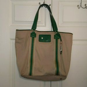 Cole Haan Tan and Green Canvas Carry All Bag